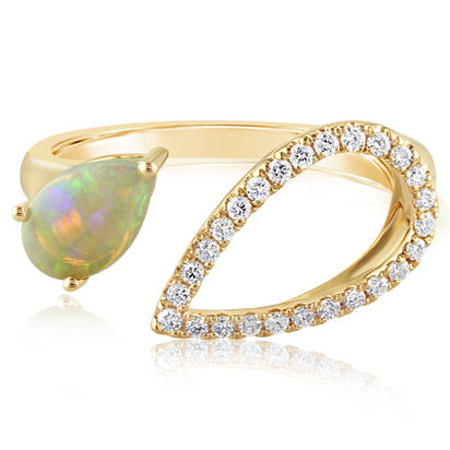 14K Yellow Gold Australian Opal/Diamond Ring | RPF226N12CI