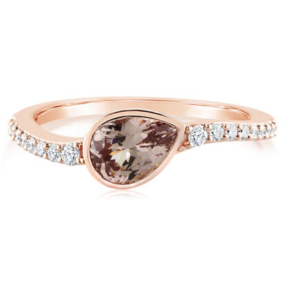 14K Rose Gold Lotus Garnet/Diamond Ring | RPF227LG2RI