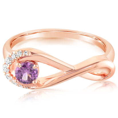 14K Rose Gold Purple Garnet/Diamond Ring | RPF228GP2RI