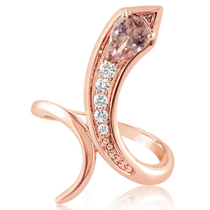 14K Rose Gold Lotus Garnet/Diamond Ring | RPF230LG2RI