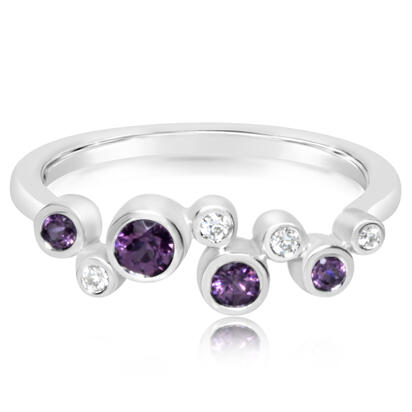 14K White Gold Purple Garnet/Diamond Ring | RPF232GP2WI