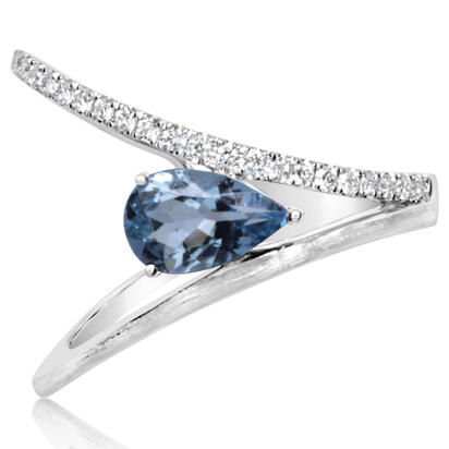 14K White Gold Aquamarine/Diamond Ring | RPF234Q22WI