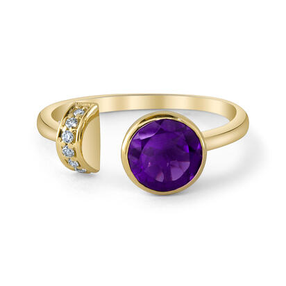 14K Yellow Gold Amethyst/Diamond Ring