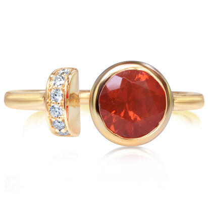 14K Yellow Gold Fire Opal/Diamond Ring | RPF235FO2CI