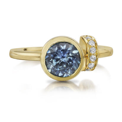 14K Yellow Gold Montana Sapphire/Diamond Ring | RPF235MS2CI