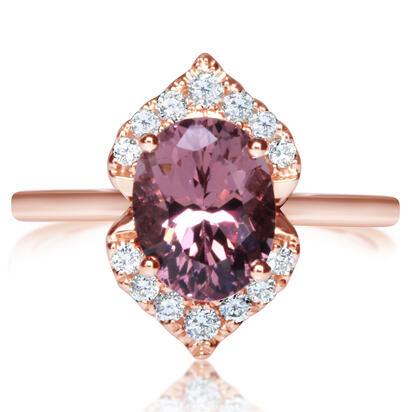 14K Rose Gold Lotus Garnet/Diamond Ring | RPF238LG2RI