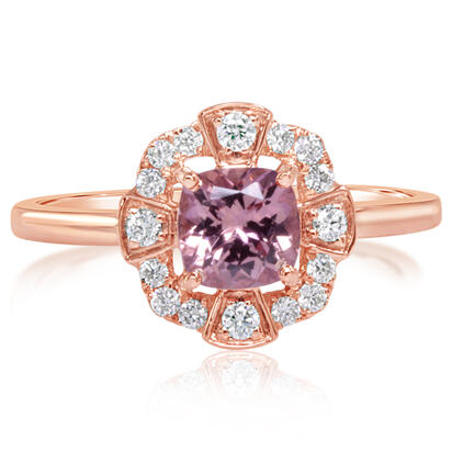 14K Rose Gold Lotus Garnet/Diamond Ring | RPF240LG2RI
