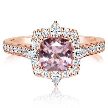 14K Rose Gold Lotus Garnet/Diamond Ring | RPF245LG2RI