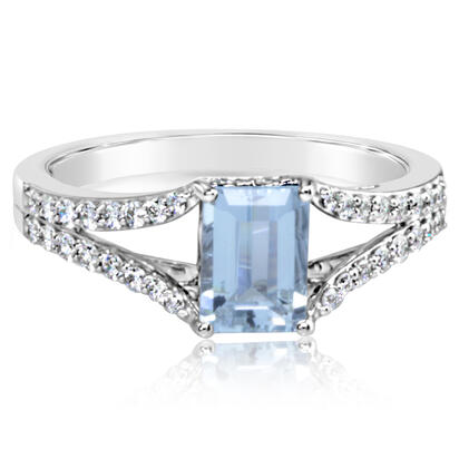14K White Gold Aquamarine/Diamond Ring | RPF247Q22WI