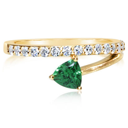 14K Yellow Gold Tsavorite/Diamond Ring