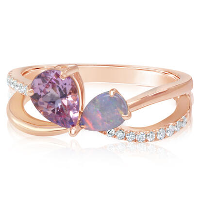 14K Rose Gold Lotus Garnet/Australian Opal/Diamond Ring | RPF251LGN12RI