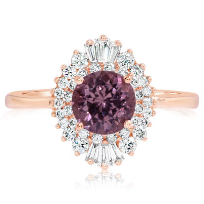 14K Rose Gold Lotus Garnet/Diamond Ring | RPF256LG1R