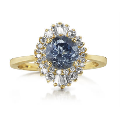 14K Yellow Gold Montana Sapphire/Diamond Ring | RCC247MS1C