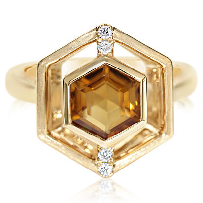 14K Yellow Gold Citrine/Diamond Ring | RPF260C22CI