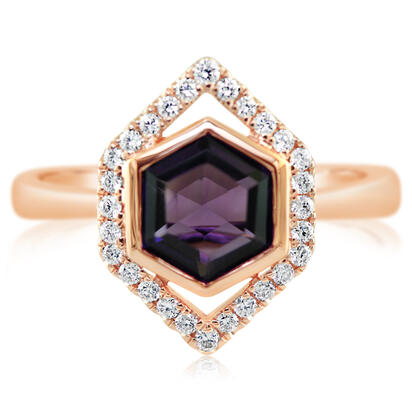 14K Rose Gold Amethyst/Diamond Ring | RPF261A22RI
