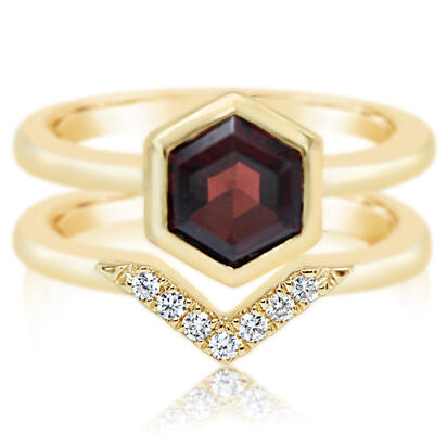 14K Yellow Gold Garnet/Diamond Ring | RPF262G22CI