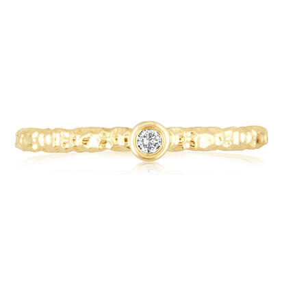 14K White Gold 2mm Yogo Sapphire Stackable Ring with Hammer Finish | RPF702Y2XWI