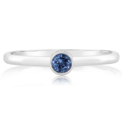 14K White Gold 3mm Round Yogo Sapphire Stackable Ring