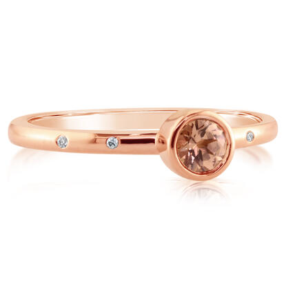14K Rose Gold 4mm Round Lotus Garnet/Diamond Stackable Ring | RPF704LG2RI