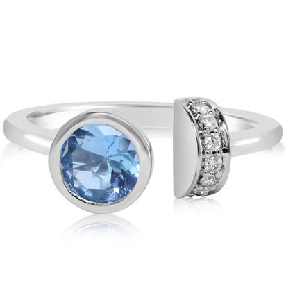 14K White Gold Blue Topaz/Diamond Ring | RPF850B22W