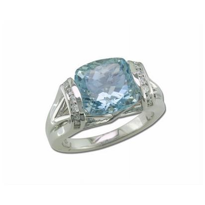 18K White Gold Aquamarine/Diamond Ring | RQ0CU895437QI