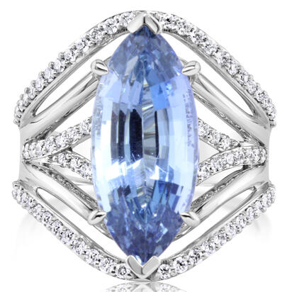 18K White Gold Aquamarine/Diamond Ring | RQ0MQ890638QI