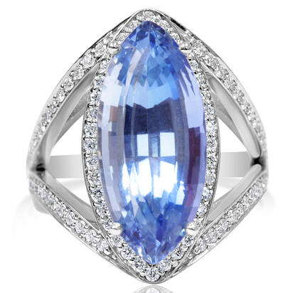 14K White Gold Aquamarine/Diamond Ring | RQ0MQ890638W