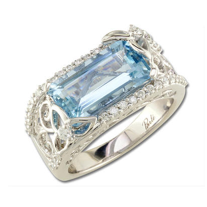 18K White Gold Aquamarine/Diamond Ring | RQ0OC354QI