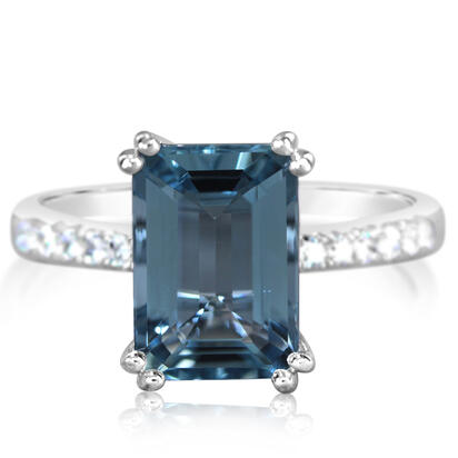 14K White Gold Aquamarine/Diamond Ring | RQ0OC820366WI