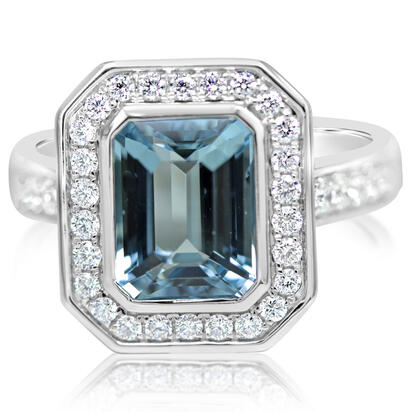 14K White Gold Aquamarine/Diamond Ring | RQ0OC835323WI