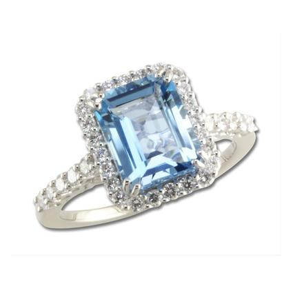 18K White Gold Aquamarine/Diamond Ring | RQ0OC840251QI