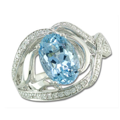 18K White Gold Aquamarine/Diamond Ring