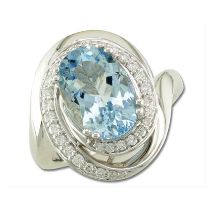 18K White Gold Aquamarine/Diamond Ring | RQ0OV356QI