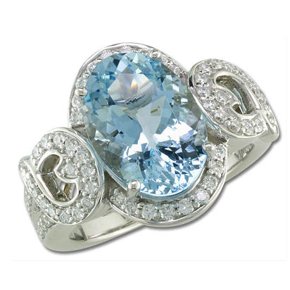 18K White Gold Aquamarine/Diamond Ring | RQ0OV395QI