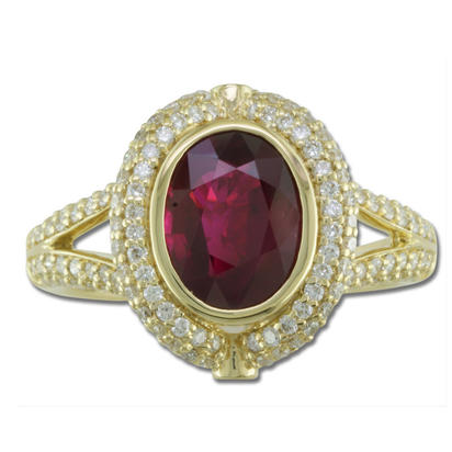 18K Yellow Gold Ruby/Diamond Ring | RRBOV953190EI