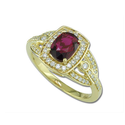 18K Yellow Gold Mozambique Ruby/Diamond Ring | RRZCU250102EI