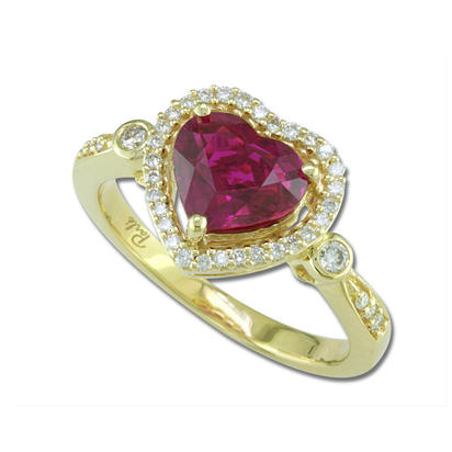 18K Yellow Gold Mozambique Ruby/Diamond Ring | RRZHHT0950200EI