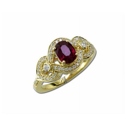 18K Yellow Gold Mozambique Ruby/Diamond Ring | RRZNOV0704130EI
