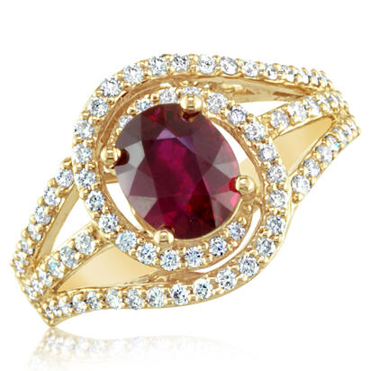 18K Yellow Gold Mozambique Ruby/Diamond Ring | RRZOV01000203-2EI