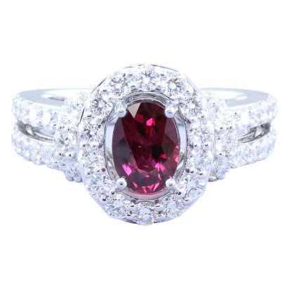 18K White Gold Mozambique Ruby/Diamond Ring | RRZOV0200114QI
