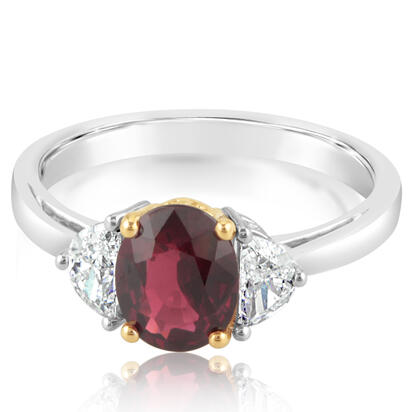 18K White Gold/18K Yellow Gold Mozambique Ruby/Diamond Ring | RRZOV0200147Q