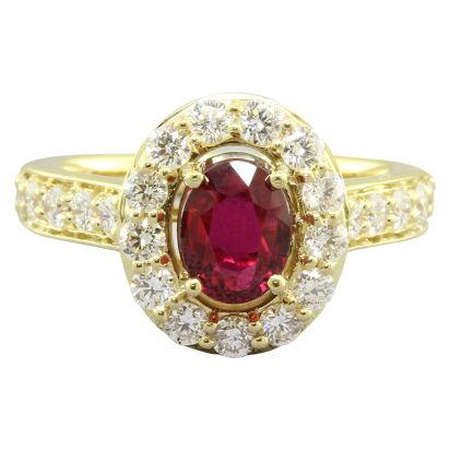 18K Yellow Gold Mozambique Ruby/Diamond Ring