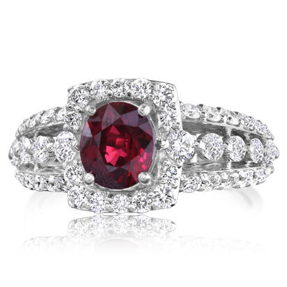 18K White Gold Mozambique Ruby/Diamond Ring | RRZOV0650152QI