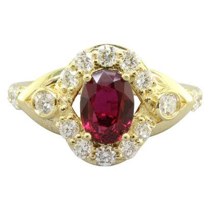 18K Yellow Gold Mozambique Ruby/Diamond Ring | RRZOV0650158EI