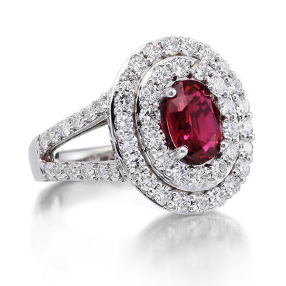 18K White Gold Mozambique Ruby/Diamond Ring | RRZOV0650205QI