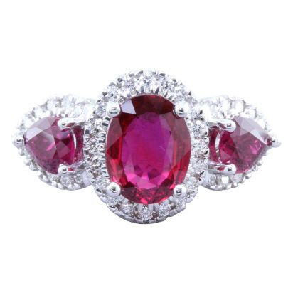 18K White Gold Mozambique Ruby/Diamond Ring | RRZOV0650222Q
