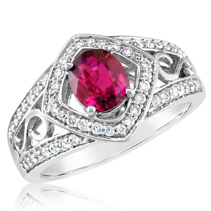 18K White Gold Mozambique Ruby/Diamond Ring | RRZOV440117QI