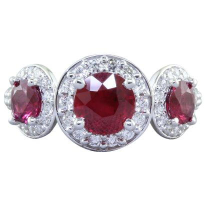 18K White Gold Mozambique Ruby/Diamond Ring | RRZRD0650154Q