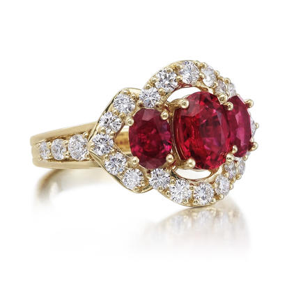 18K Yellow Gold Mozambique Ruby/Diamond Ring | RRZRM295EI