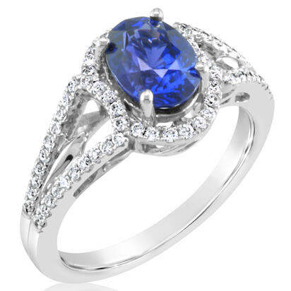 18K White Gold Ceylon Blue Sapphire/Diamond Ring | R86S0142QI